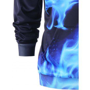Flaming Dragon Print Kangaroo Pocket Hoodie - BLUE/BLACK M