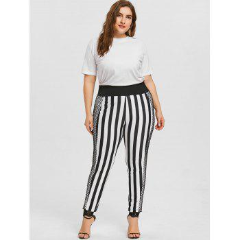 Plus Size Striped Lace Trim Pants - BLACK XL