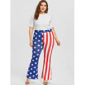 Plus Size Star Striped Flare Pants - US FLAG XL