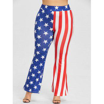 Plus Size Star Striped Flare Pants - US FLAG 4XL