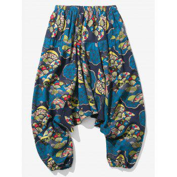 Cotton Linen Japanese Printed Jogger Pants - COLORMIX XL