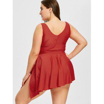 Plus Size Asymmetrical Tankini Set - RED 2XL
