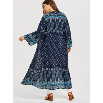 Plus Size Collarless Ethnic Kimono - PURPLISH BLUE ONE SIZE