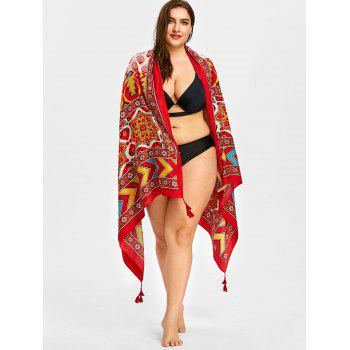 Tassel Floral Zigzag Print Beach Throw - WINE RED ONE SIZE