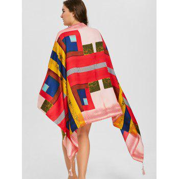 Tassel Symmetry Print Beach Throw - COLORMIX ONE SIZE