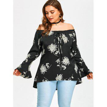 Off The Shoulder Plus Size Chrysanthemum Printed Blouse - BLACK 4XL