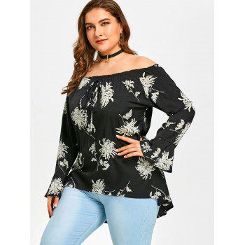 Off The Shoulder Plus Size Chrysanthemum Printed Blouse - BLACK 5XL