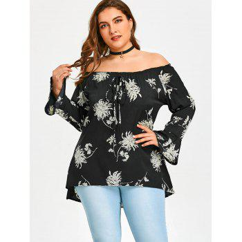 Off The Shoulder Plus Size Blouse imprimée de chrysanthème - Noir 3XL