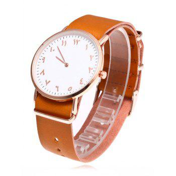 Round Dial Faux Leather Analog Watch - LIGHT COFFEE
