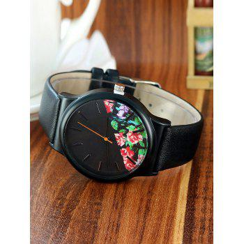 Faux Leather Band Floral Watch - BLACK