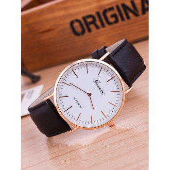 Faux Leather Strap Minimalist Quartz Watch - BLACK