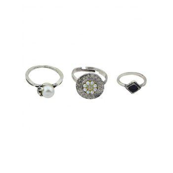 Vintage Faux Pearl Ball Midi Ring Set - SILVER ONE-SIZE