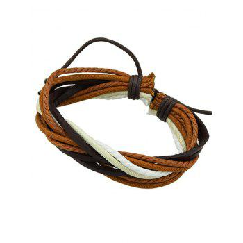 Handmade Faux Leather Bead Wing Layered Bracelet - BROWN