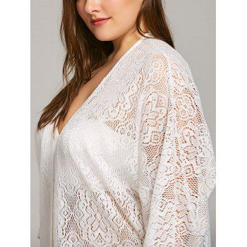 Fringe Embellished Plus Size Lace Cover Up - WHITE ONE SIZE