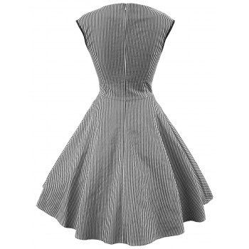 Vintage Striped Sweetheart Dress - BLACK M
