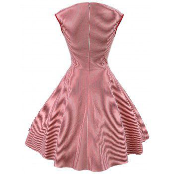 Vintage Striped Sweetheart Dress - RED M