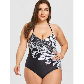 Plus Size Heart Print One Piece Swimwear - BLACK XL