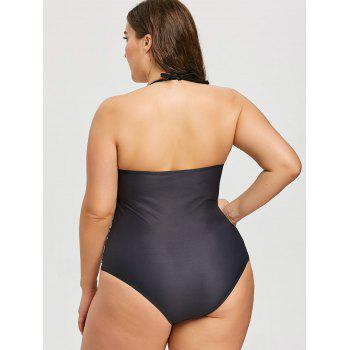 Plus Size Heart Print One Piece Swimwear - BLACK 4XL