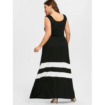 Striped Trim Plus Size Maxi A Line Dress - BLACK XL