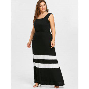 Striped Trim Plus Size Maxi A Line Dress - BLACK 2XL