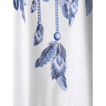 Feather Print Lace Panel Asymmetric Tank Top - WHITE 2XL