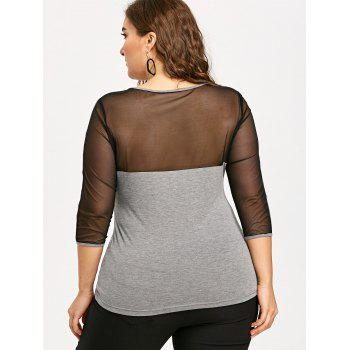 Plus Size Sheer Mesh Panel Cut Out Blouse - GRAY 3XL