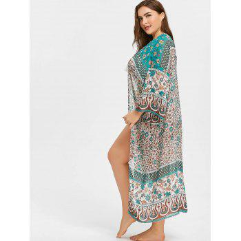 Tribal Plus Size Cover Up Kimono - multicolor ONE SIZE