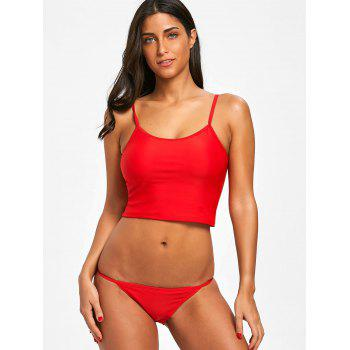 Cami Strap String Low Waist Bikini - RED XL