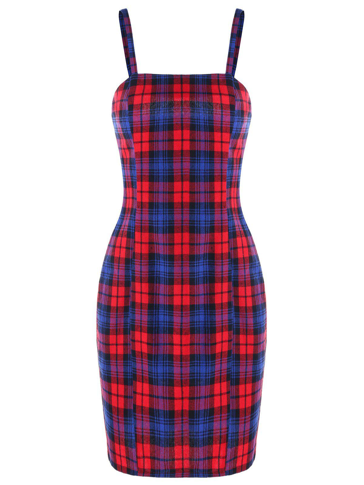 Cami Checked Bodycon Dress - PLAID XL