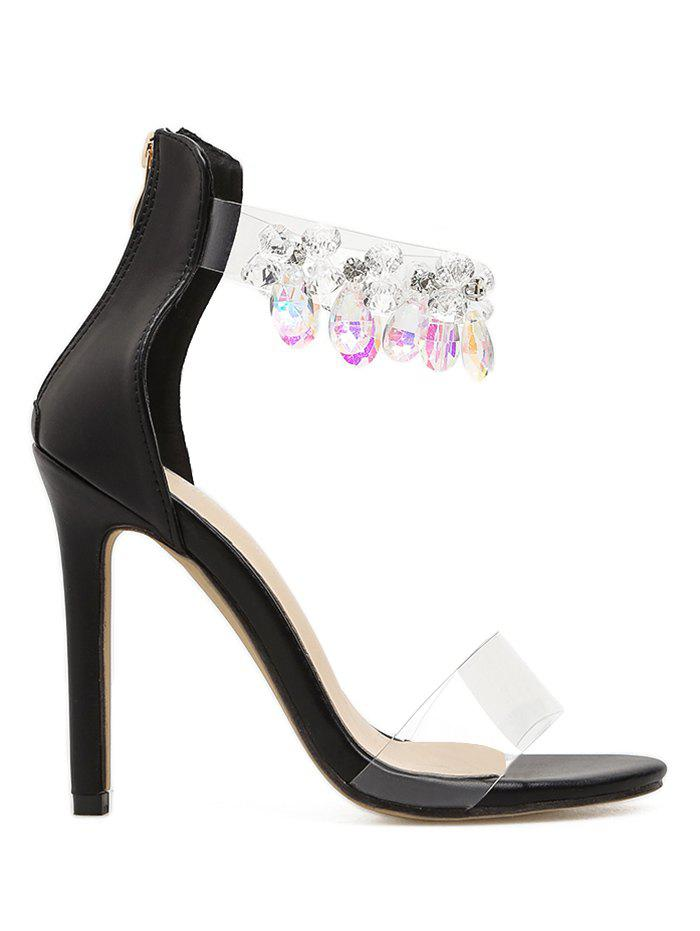 Rhinestone Embellishment Ankle Strap Sandals - BLACK 39