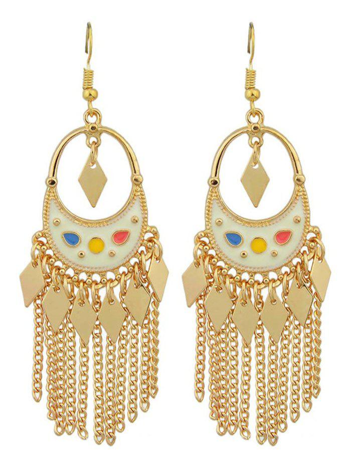 Metal Crescent Tassel Hollow Out Drop Earrings - COLORMIX