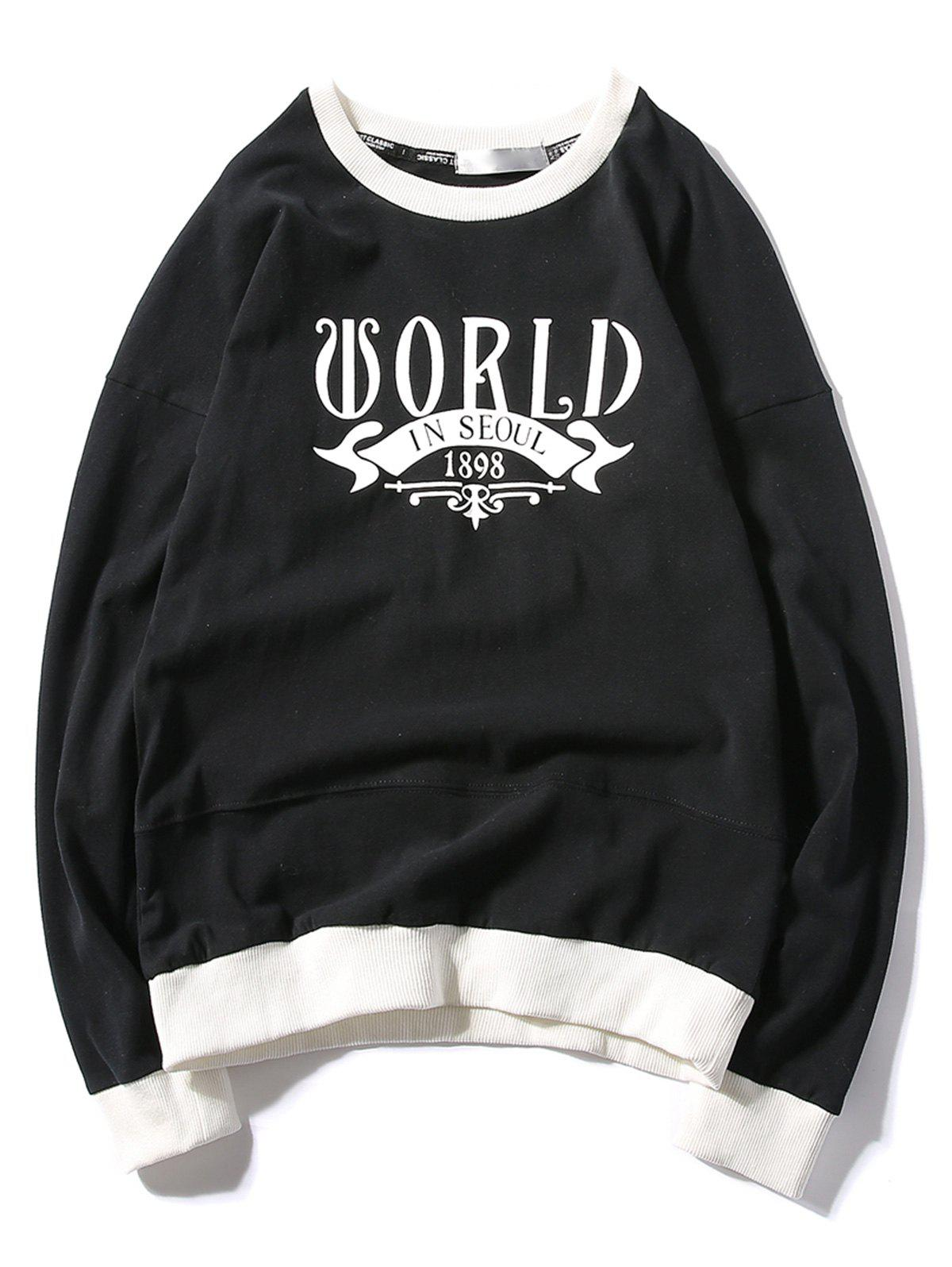Rib Panel Printed Pullover Sweatshirt - BLACK L
