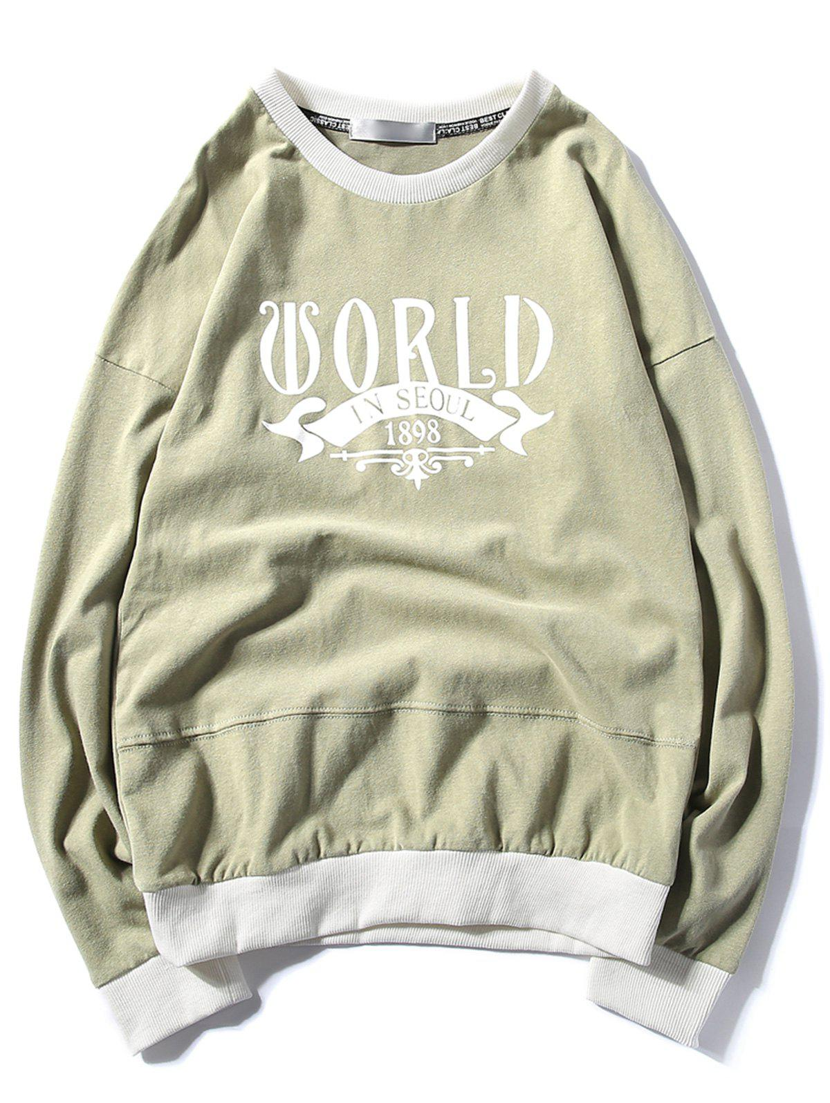 Rib Panel Printed Pullover Sweatshirt - GREEN L