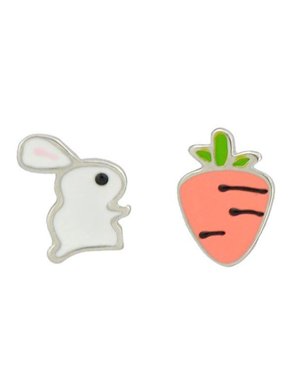 Asymmetric Bunny and Radish Stud Earrings - WHITE