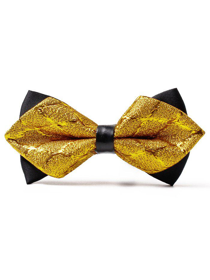Jacquard Weave Motif Shimmer Bowtie - Or