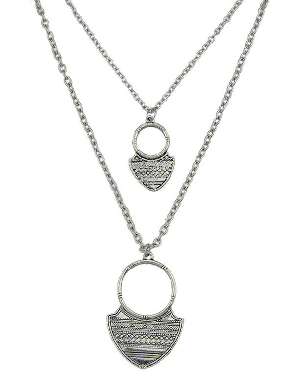 Iron Plate Circle Pendant Necklace Set - SILVER