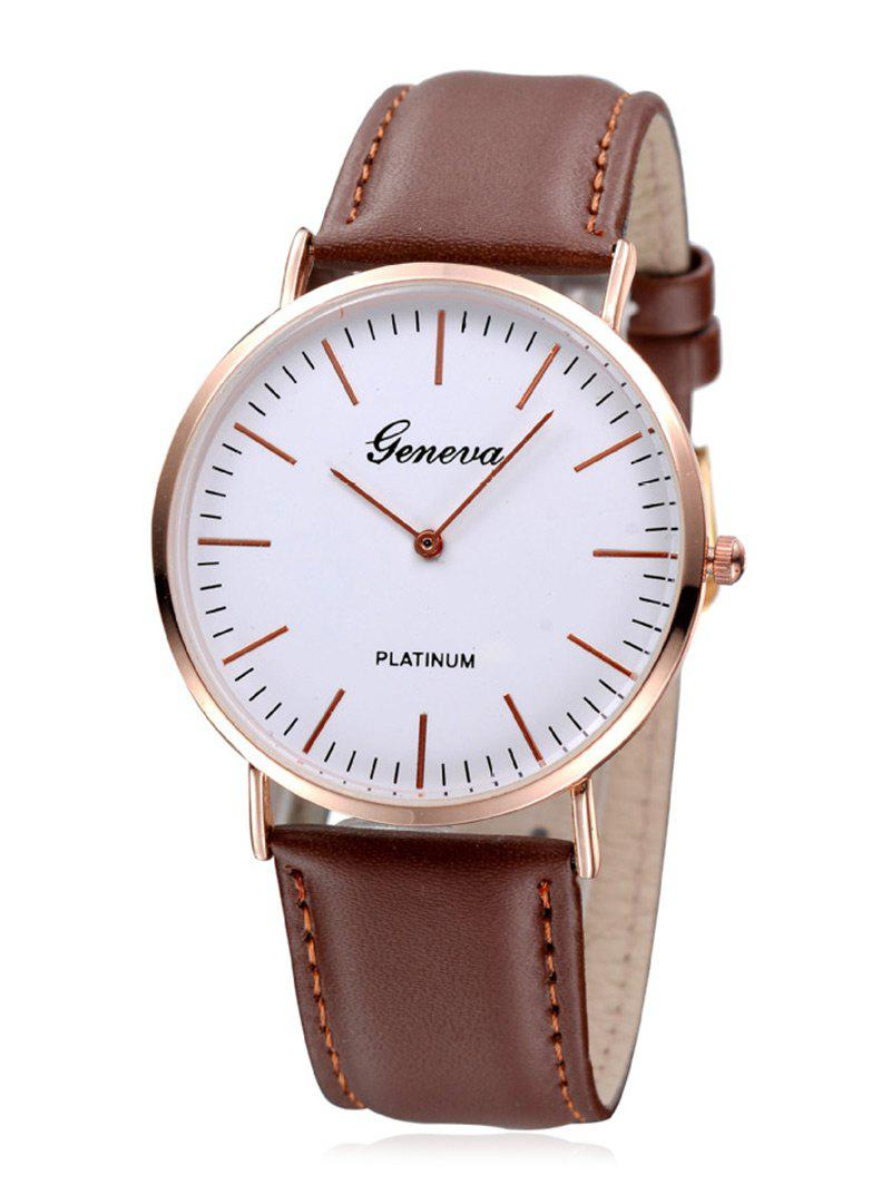 Faux Leather Strap Minimalist Quartz Watch - BROWN