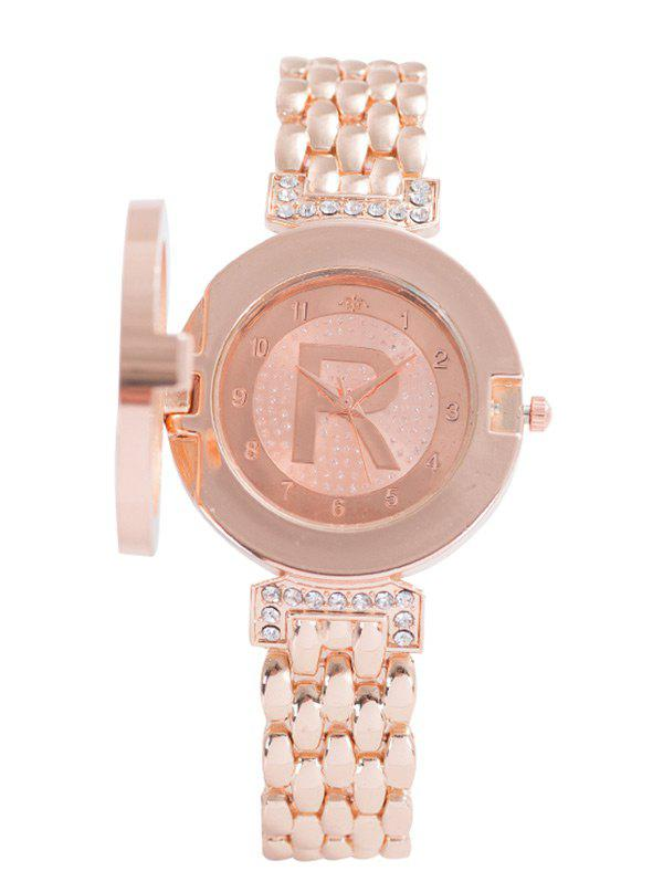 Alloy Strap Rhinestone R Clamshell Watch - ROSE GOLD
