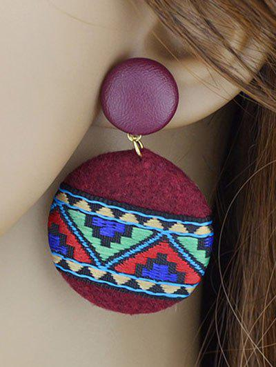 Embroidery African Print Round Drop Earrings - RED