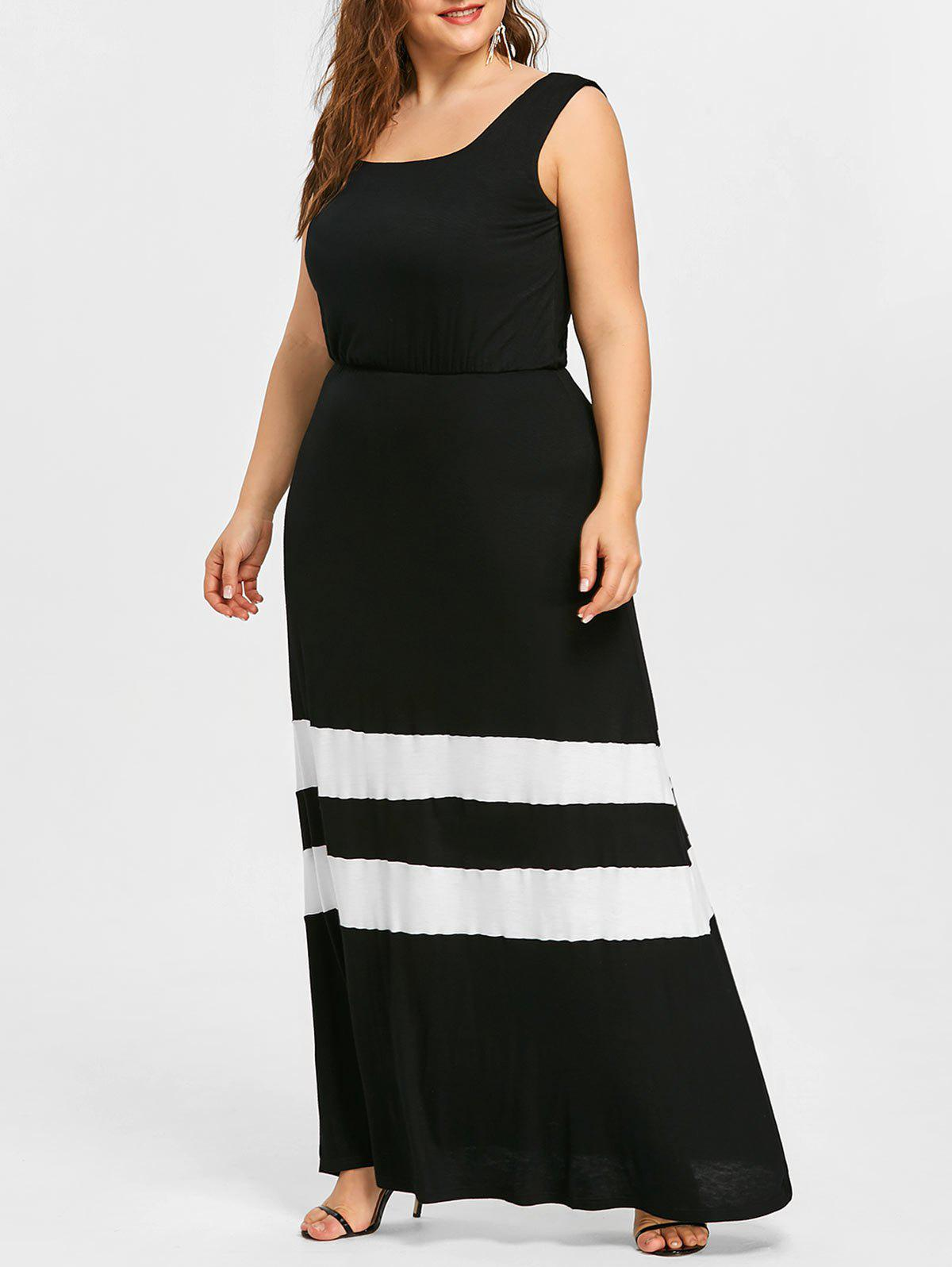 Striped Trim Plus Size Maxi A Line Dress - BLACK 5XL