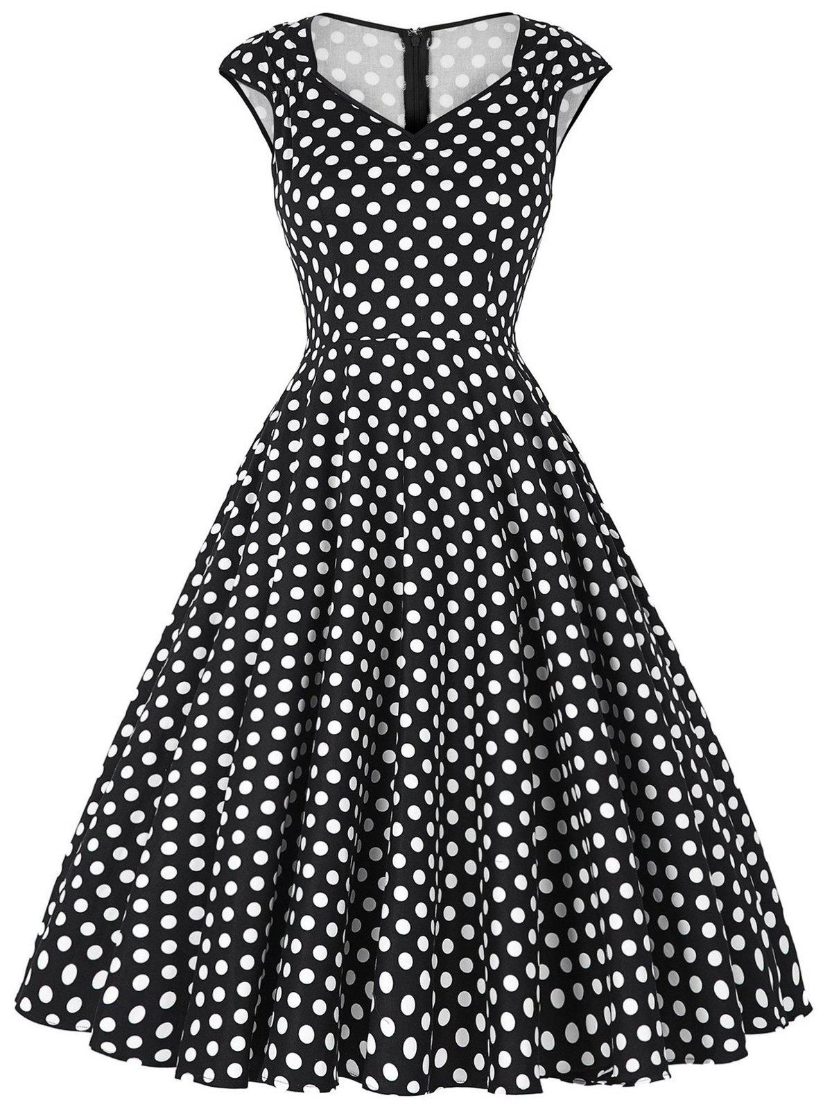 Vintage Polka Dot Sweetheart Dress - BLACK M