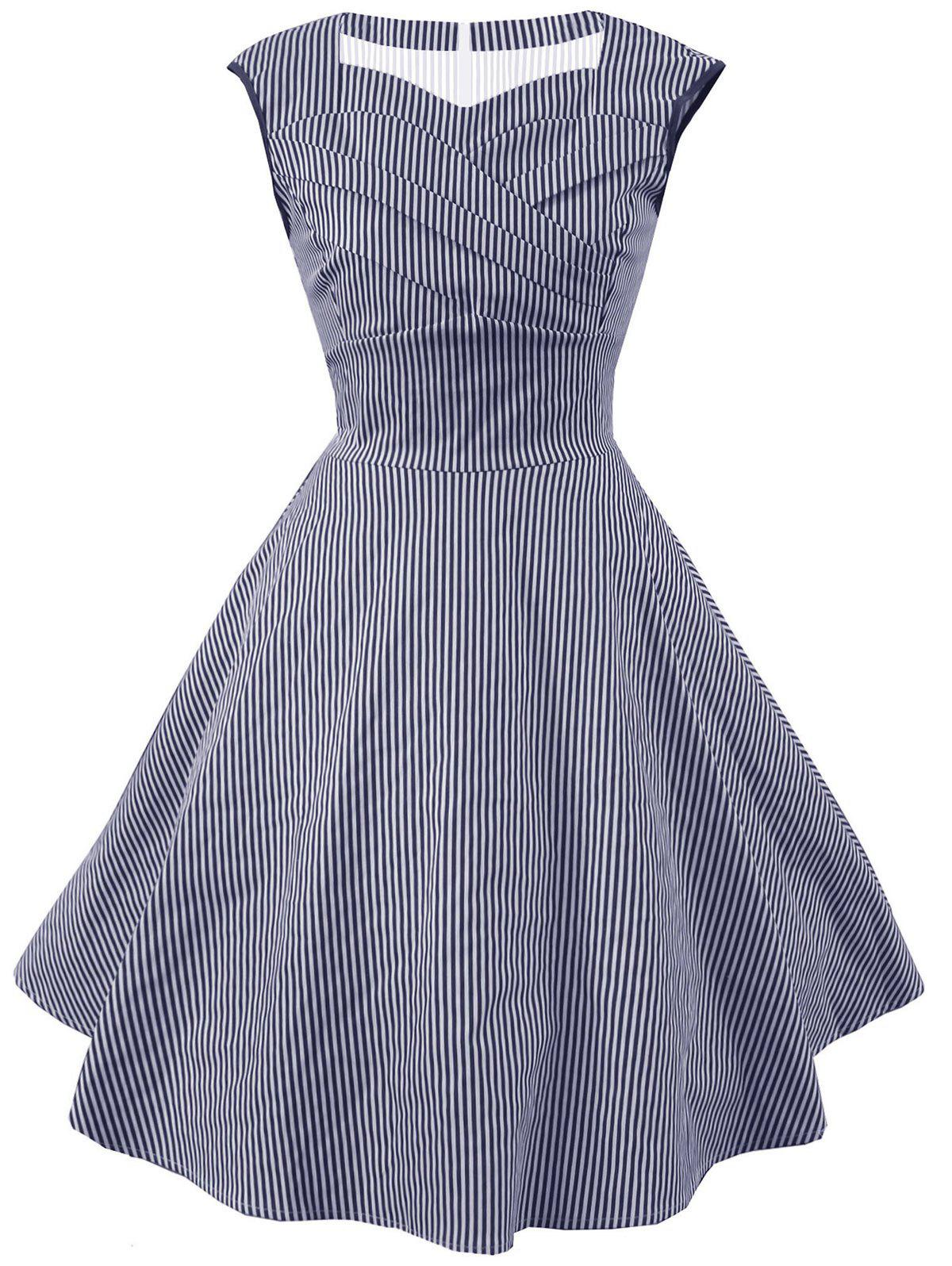 Vintage Striped Sweetheart Dress - BLUE 2XL