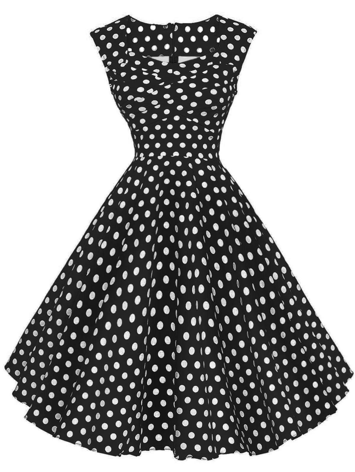 Vintage Polka Dot Twisted Dress - BLACK L