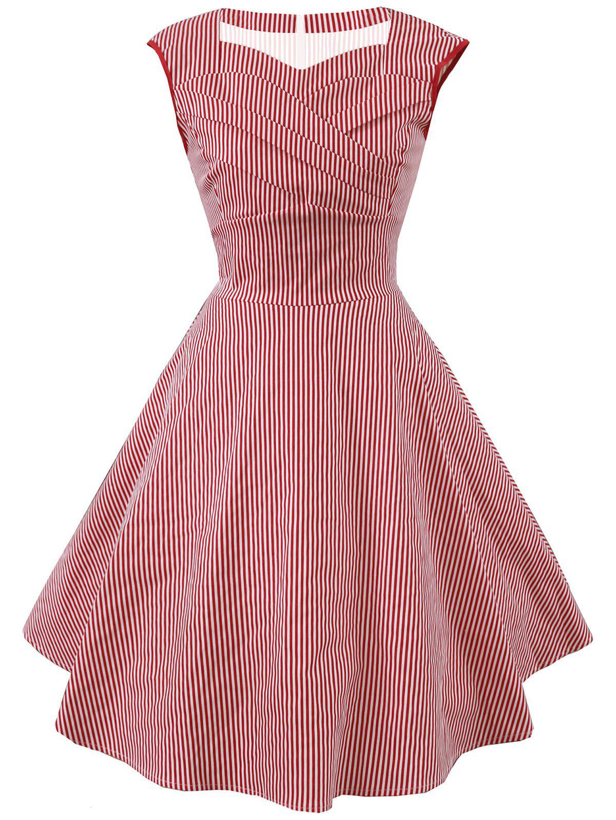 Vintage Striped Sweetheart Dress - RED L