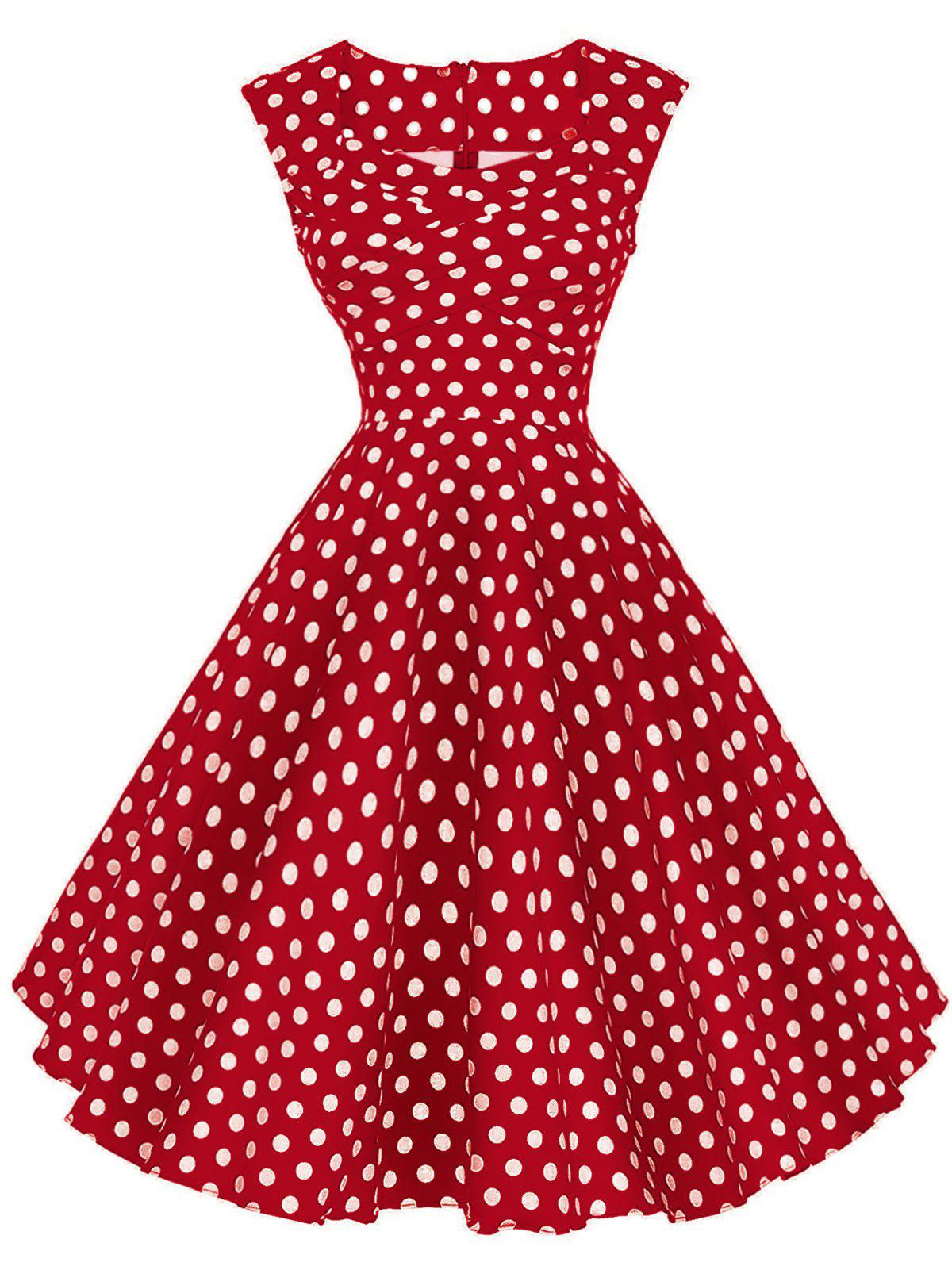 Vintage Polka Dot Twisted Dress - RED 2XL