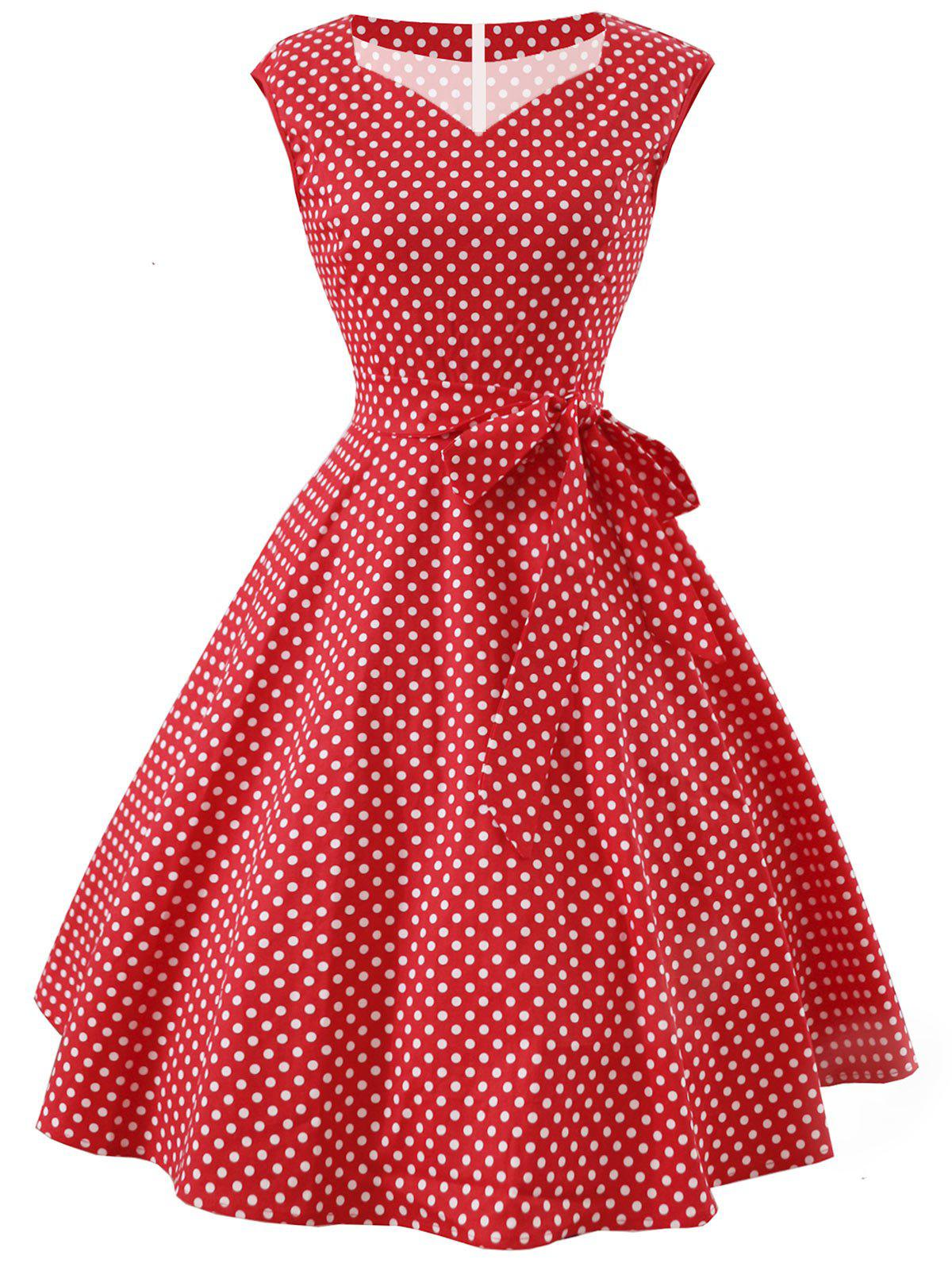 Vintage Polka Dot Belted Dress - RED L