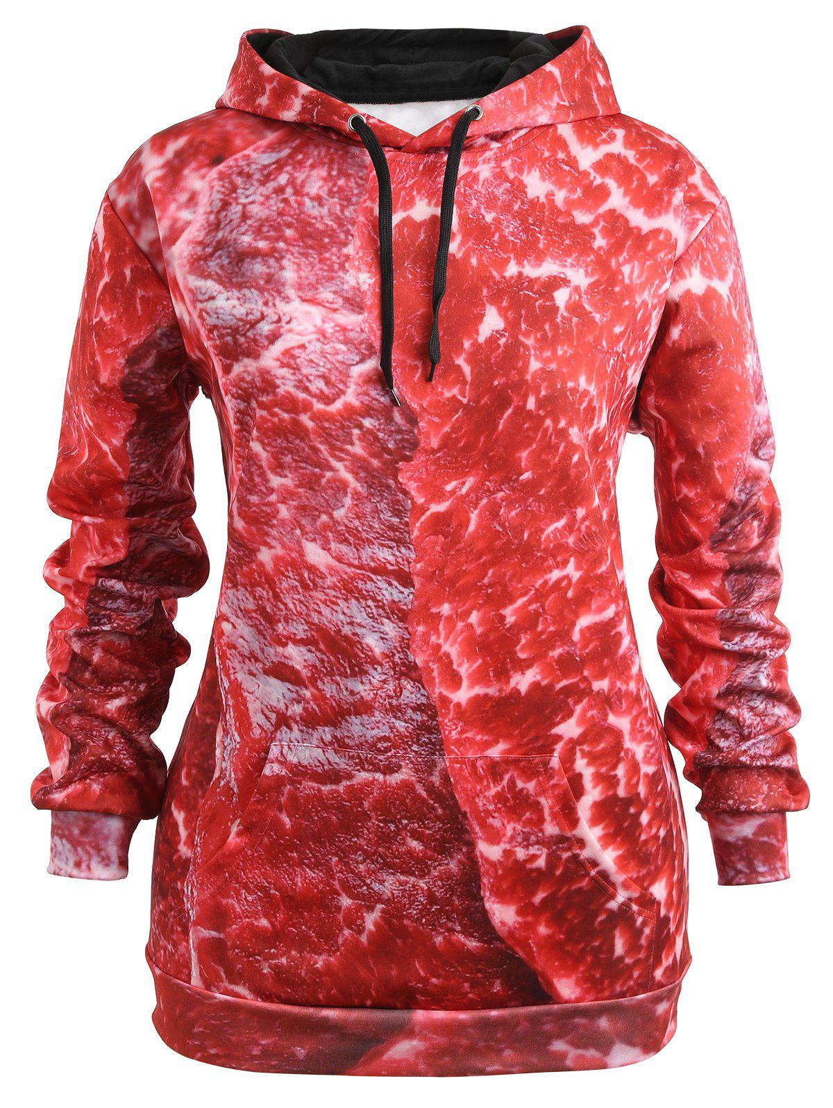 Drawstring Plus Size Pork Meat 3D Print Hoodie - RED 4XL