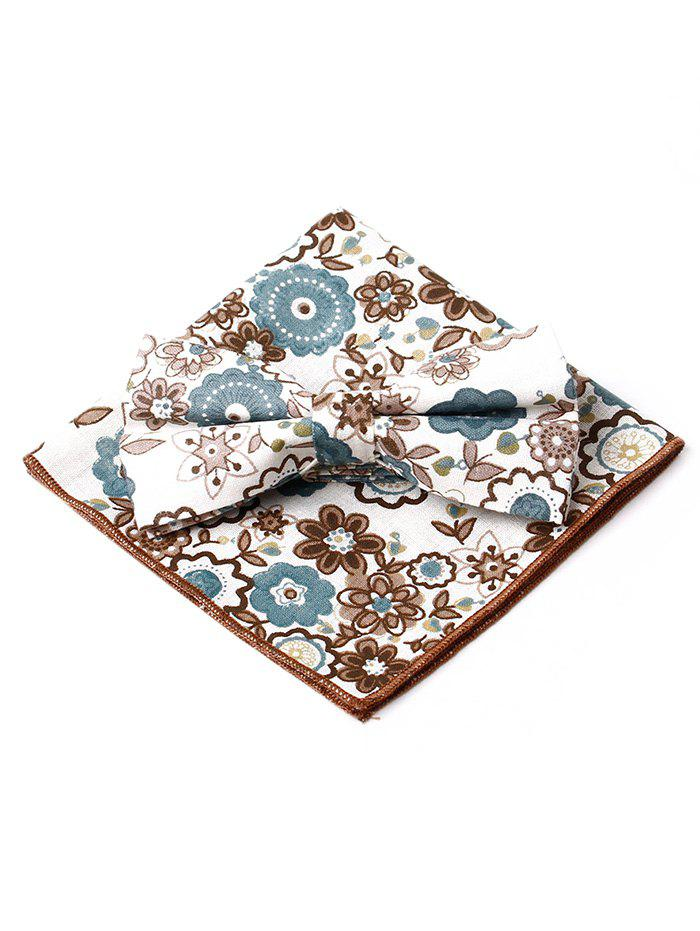 Floral Pattern Formal Bow Tie Handkerchief Set - BROWN