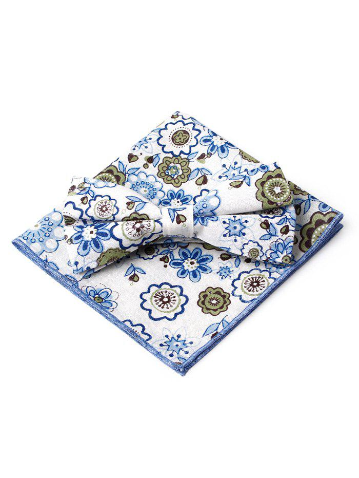 Floral Pattern Formal Bow Tie Handkerchief Set - BLUE