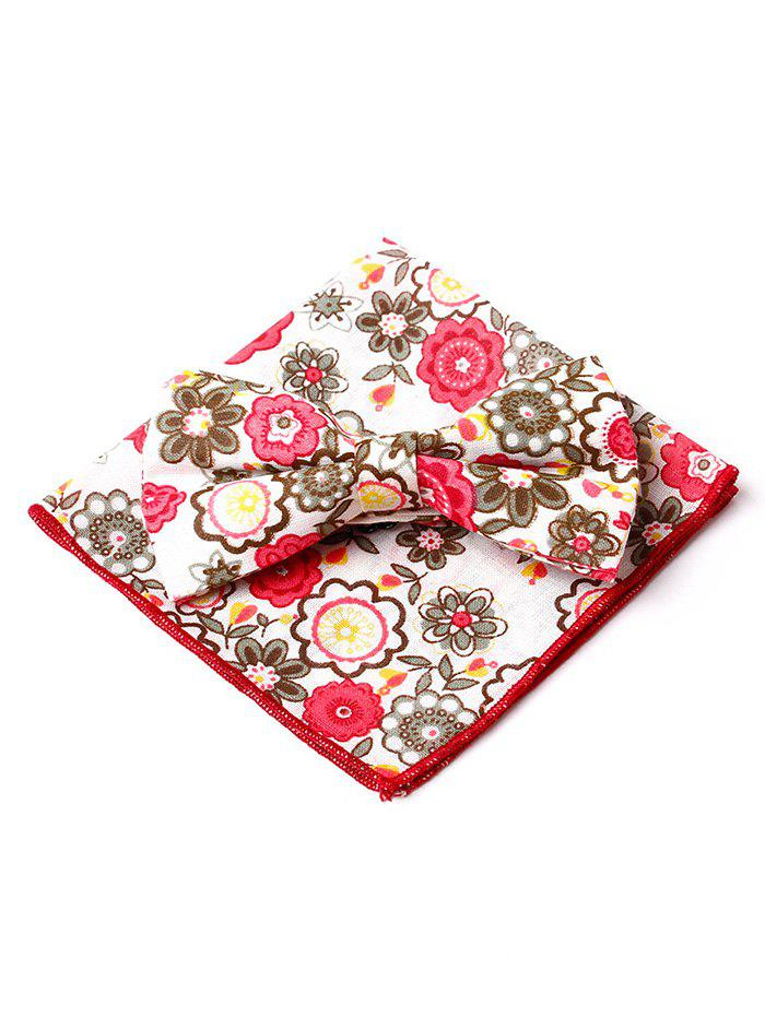 Floral Pattern Formal Bow Tie Handkerchief Set - RED